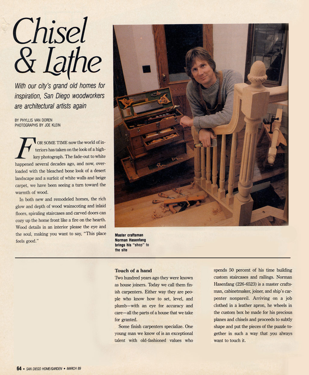 Article about Stairbuilder Norman Hasenfang